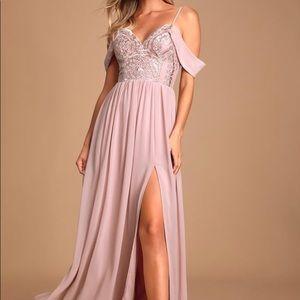 Dusty Lavender Off-the-Shoulder Maxi Dress